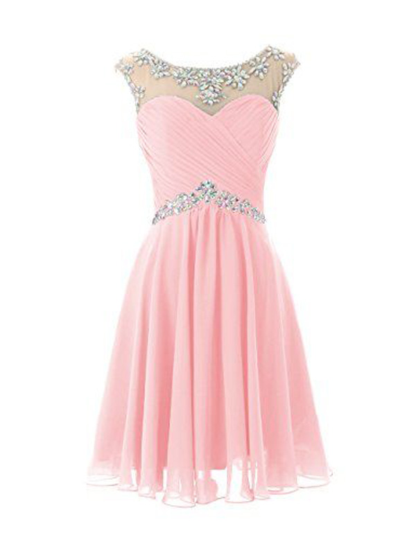 Open Back Pink Chiffon Short Homecoming Dresses Prom Dress,Sexy Homecoming Dress for Juniors Birthday Dress,Cap Sleeves Cocktail Dress,Wedding Party Dress