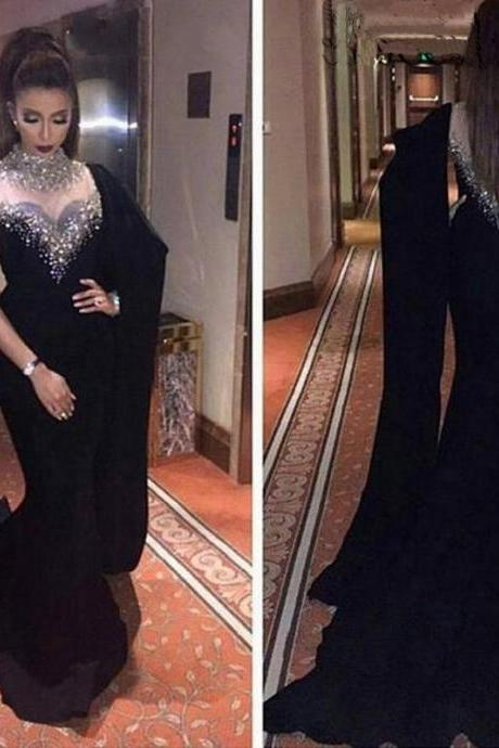 Gorgeous Black Long Chiffon Evening Dress 2017 High Neck Bling Crystal Beading Mermaid Prom Evening Gowns