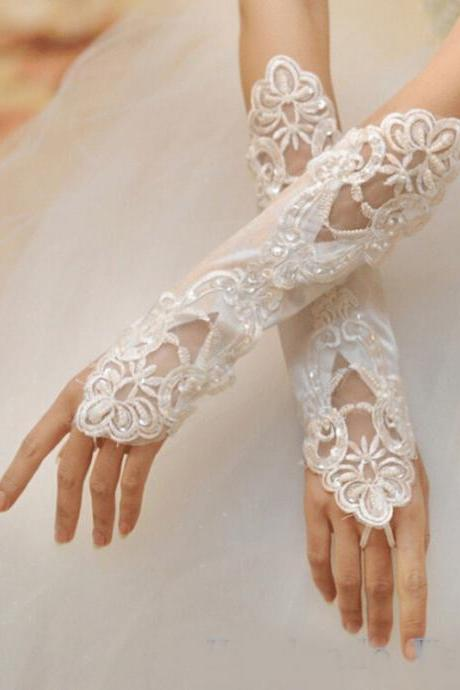 Bridal gloves 2017 Wedding Accessories Long Lace Beading Fingerless Wedding Gloves