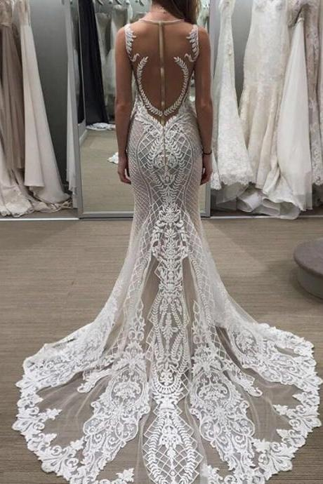 New Fashion See Through Back Embroidered Lace On Net Wedding Dresses Scoop Mermaid Bridal Gown