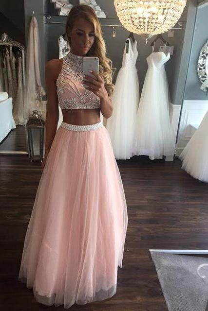 2 Piece Long 2017 Pearls Crystal Girls Sparkly Graduation Party Dress High Neck Formal Evening Gowns