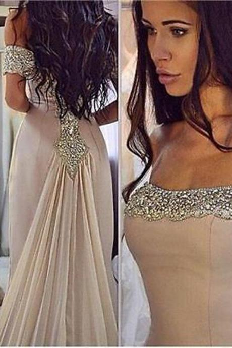 2017 Formal Chiffon Mermaid Evening Party Dress Pageant Beauty Beading Off The Shoulder Wedding Party Gowns