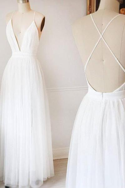 White Chiffon Plunge V Floor Length Pleated A-Line Wedding Dress Featuring Criss-cross Open Back