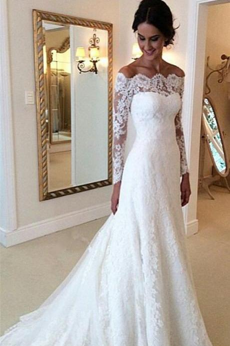 Lace Off-The-Shoulder Long Mesh Sleeves Floor Length Mermaid Wedding Dress Featuring Train