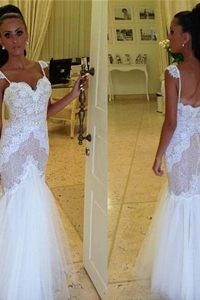 Lace Sweetheart Shoulder Straps Floor Length Tulle Mermaid Wedding Dress Featuring Low Back