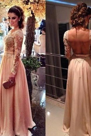 Sexy Prom Dress,Long Prom Dresses,Backless Long Sleeve Prom Dresses, A Line Formal Evening Dress