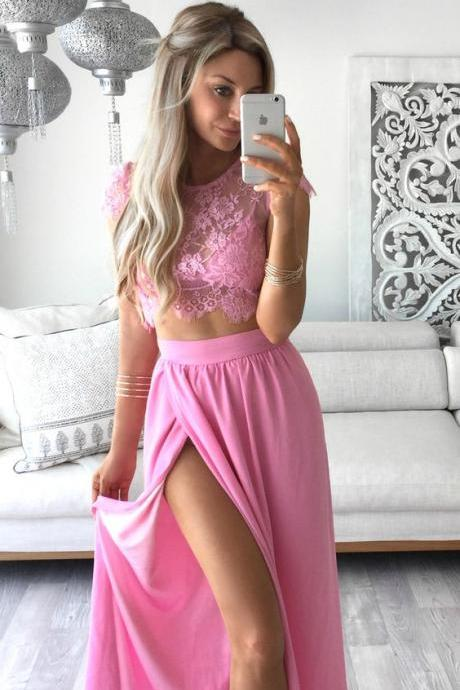 New Arrival Two Piece Prom Dress,Sexy Prom Dress,High Split Prom Dress,Long Prom Party Dress