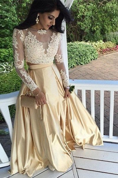 2017 Long Sleeves Prom Dress, Two Piece Long Prom Dress, Champagne Long Prom Dress, Lace Prom Dress, Formal Evening Prom Dress