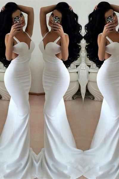 Simple White Prom Dress,Sheath Mermaid Prom Dresses,Evening Dress,High Quality Graduation Dresses,Wedding Guest Prom Gowns, Formal Occasion Dresses,Formal Dress