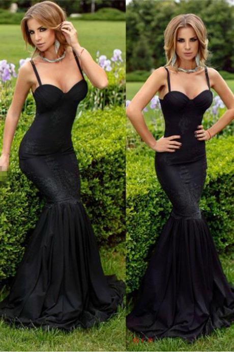 Prom Dresses,2017 Spaghetti-Straps Mermaid Lace Black Sweetheart Sexy Evening Dress