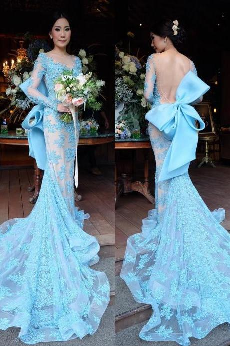 New Arrival Prom Dress,Modest Prom Dress,long sleeves evening dress,mermaid prom dress,bow back prom dress