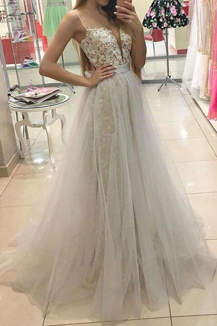 White Sweetheart Lace Tulle Long Prom Dress, White Evening Dress, Charming Prom Dress, Lace Prom Dress, Elegant Woman Formal Dresses, White Long Evening Dress