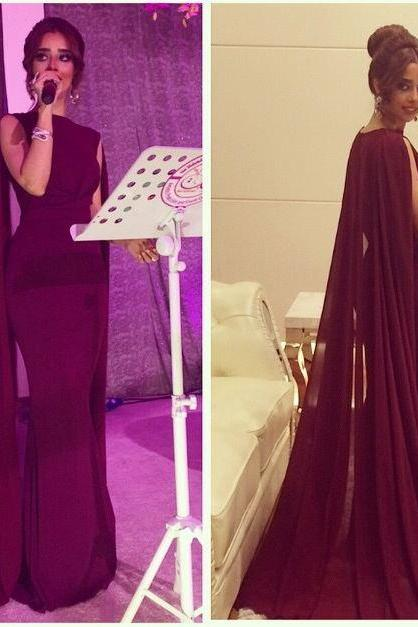 Burgundy Special Occasion Women Dress,Mermaid Robe Prom Dresses with Cape,Sweep Train Prom Dresses,Charming Prom Dresses