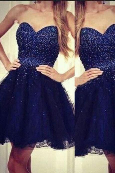 Homecoming Dress,Tulle Homecoming Dress,Beading Graduation Dress,Sweetheart Prom Dress