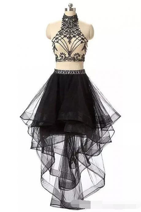 Homecoming Dress, Two Piece Homecoming Dress, High Low Homecoming Dress, Black Homecoming Dress, Halter Homecoming Dress, Keyhole Back Homecoming Dress, Beading Homecoming Dress, Cocktail Dress, High Low Cocktail Dress, Sleeveless Cocktail Dress