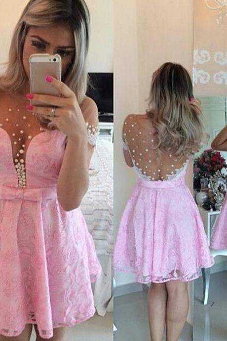 Homecoming Dress, Short Homecoming Dress, Short Sleeve Homecoming Dress, Pink Homecoming Dress, Illusion Neck Homecoming Dress, Sheer Back Homecoming Dress, A-line Homecoming Dress, Pearls Homecoming Dress, Party dress, A-line Party Dress, Short Party Dress