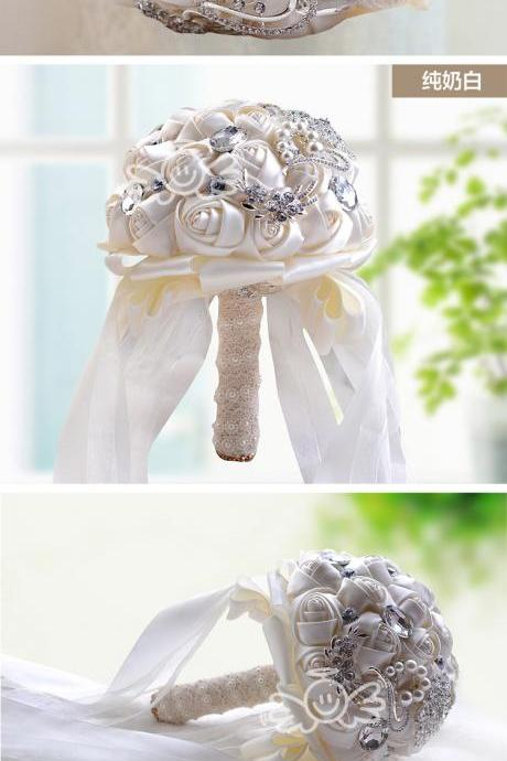 In stock Stunning Wedding flowers White Bridesmaid Bridal Bouquets artificial Rose Wedding Bouquet
