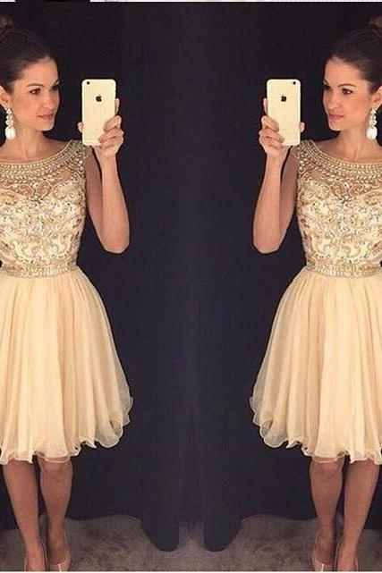 Charming Champagne Gold Homecoming Dress ,Cap Sleeves Rhinestones Homecoming Dresses,High Neck Short Prom Dresses,Short Prom Gowns, Sweet 16 Dresses,Graduation Dress,Cocktail Dresses