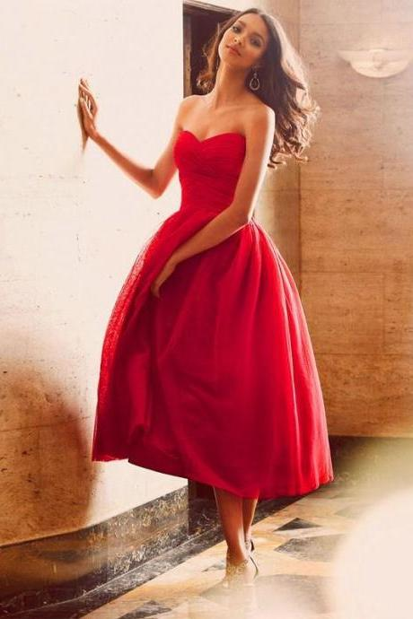 Evening Dress,Red Evening Dress Short Evening Dress Tea Length Evening Dress Tulle Evening Dress,Dress for evening