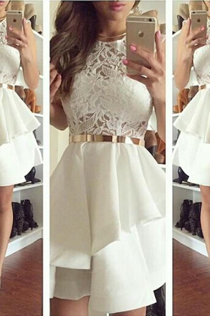 Short Homecoming Dress,White Sweet Homecoming Dresses,Lady Homecoming Dress