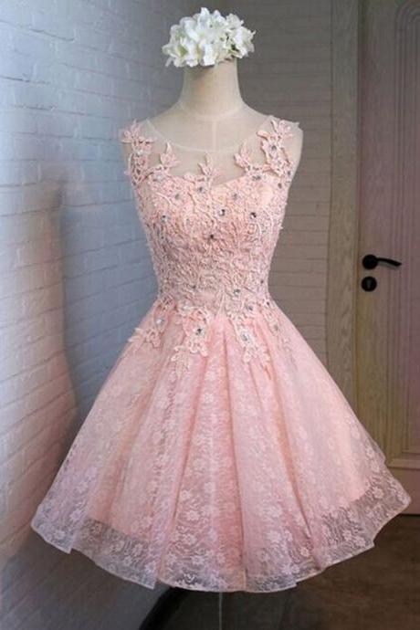 Pink Lace Homecoming Dresses, A-Line Homecoming Dresses, Cute Homecoming Dresses, Homecoming Dresses, Juniors Homecoming Dresses, Cheap Homecoming Dress