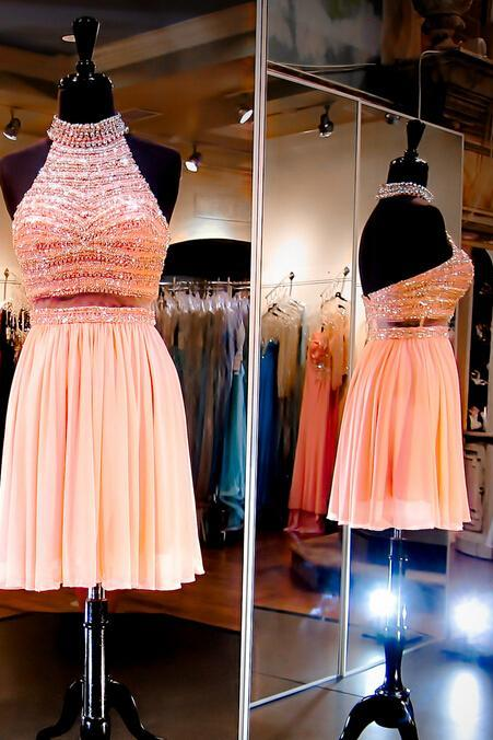 Charming Homecoming Dress,Chiffon Homecoming Dress,Beading Homecoming Dress,Halter Homecoming Dress