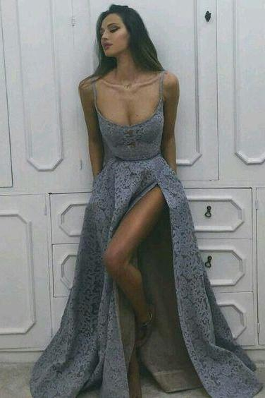 Sexy Prom Dress, Long Prom Dress,Grey Prom Dress, Formal Prom Dress ,Gray Prom Dress, Cheap Prom Dress
