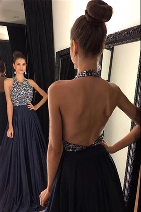 navy blue prom dress, beading prom dress, unique prom dress, sexy prom dress, 2017 prom dress, new arrival prom dress, prom dress with bow, gorgeous prom dress, handmade prom dress, evening dress