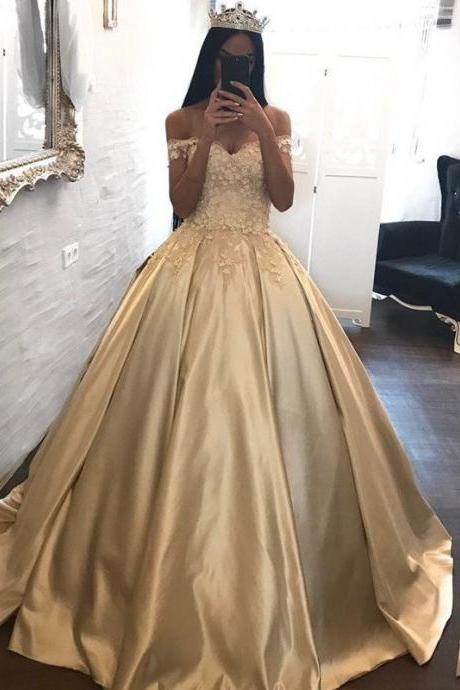 Romantic Lace Ball Gowns Quinceanera Dresses, Long Prom Dresses Satin Off the Shoulder Appliqued Quinceanera Dresses Sweep Train Wedding Dresses