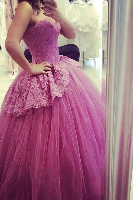 Sexy Sweetheart Wedding Dresses Applique Princess Tulle Guest Ball Gown Sweep Prom Quinceanera Bridal Gowns