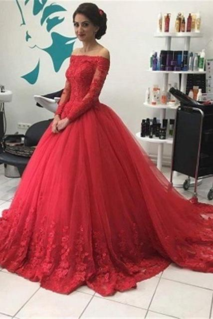 Ball Gown Prom Dress ,Evening Dress,Long Sleeve Red Lace Prom Dress,Tulle Appliques Quinceanera Dress,Wedding Dress