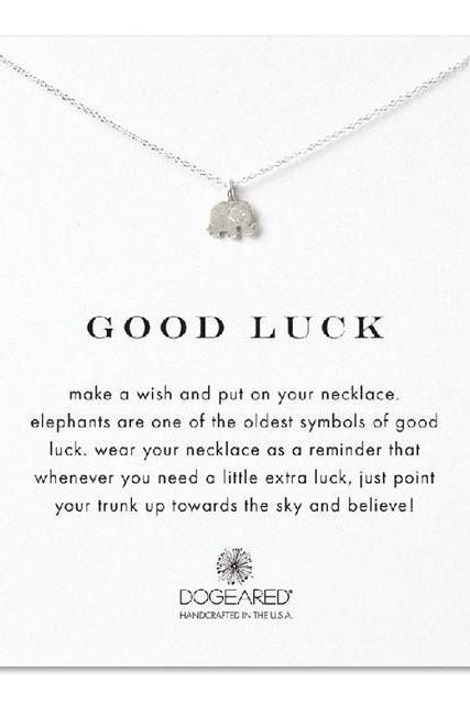 Lucky Elephant Pendant Necklace with Good Luck Card 18K Gold Plated Necklace