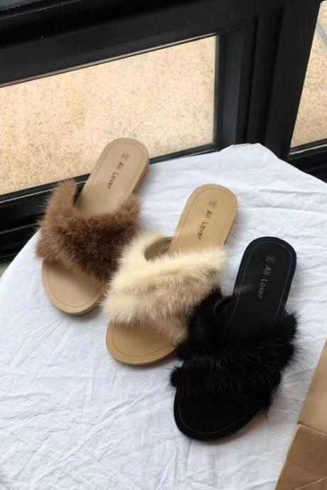 Faux Fur Criss-Cross Sandal Flip Flop Flats / Slides - Black / Coffee / Ivory