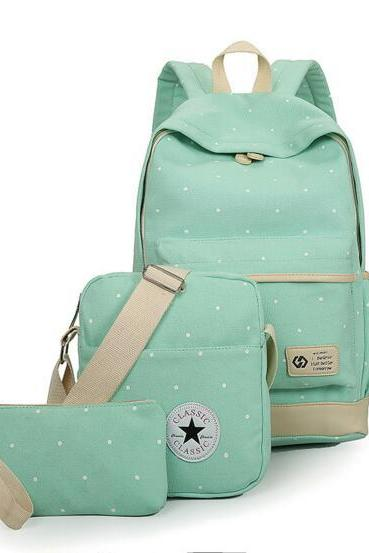 Mint Green Polka Dots Backpack 3 piece