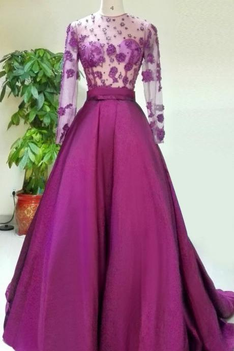 Long Sleeve Evening Dress,Sexy Evening Dress,Long Prom Dresses,Formal Dress