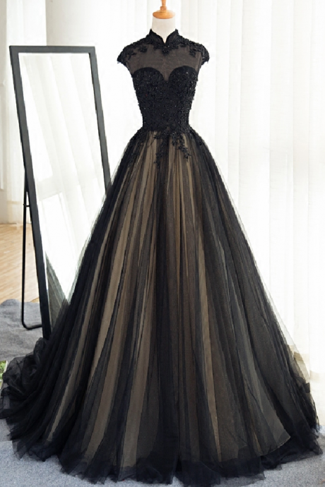 High Neck Prom Dress,Long Black Tulle Prom Dress,Lace Appliques Prom Gowns,Custom Made Women Formal Dress, Black Evening Dress