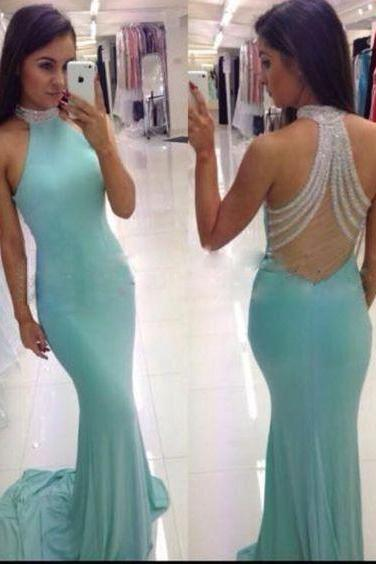Sexy Open Back Mermaid Blue Prom Dress,Backless Graduation Dress,Sexy Formal Evening Dress,Halter Neckline Prom Gown,Mermaid Open Back Prom Dress