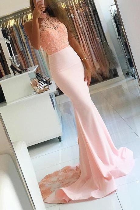 Sexy Prom Dress,Mermaid Evening Dress,Sexy Open Back Prom Gown,Mermaid Halter Neckline Lace Bridesmaid Dress