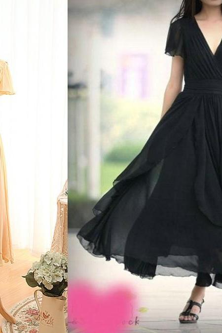 Chiffon Plunge V Short Sleeves Ankle Length A-Line Bridesmaid Dress