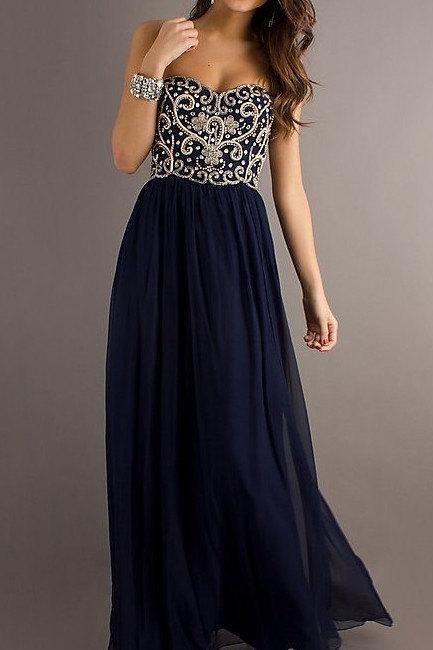 A line Navy Blue Sweetheart Chiffon Floor Length Long Prom Dress, Long Evening Dresses, Formal Dresses
