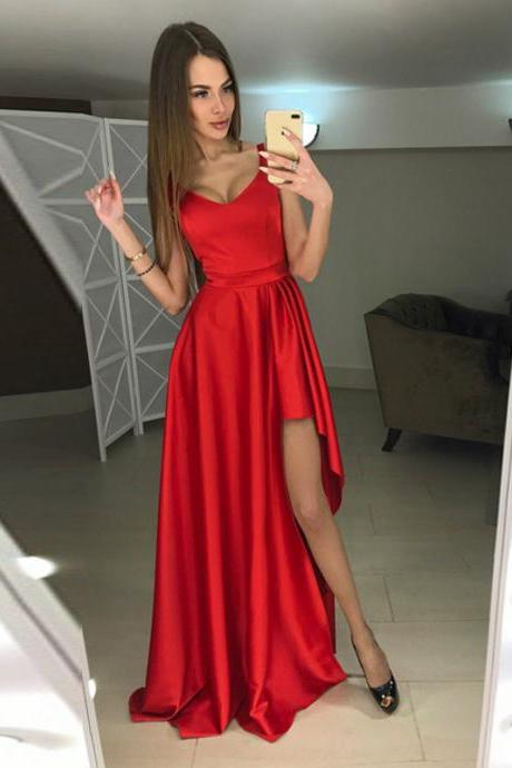 Scoop Neck Red Prom Dress with Slit