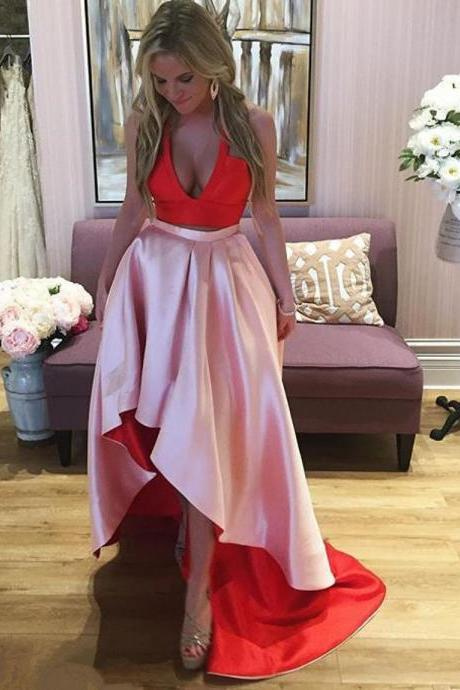 High Low Prom Dresses,Two Piece Prom Dress,Sexy Prom Dresses 2018