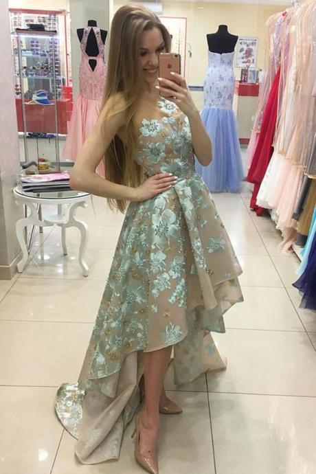 Prom Dresses,High Low Prom Gown,Prom Gowns,Simple Prom Dress,Lace Evening Dress,Elegant Formal Dress,Simple Prom Gowns