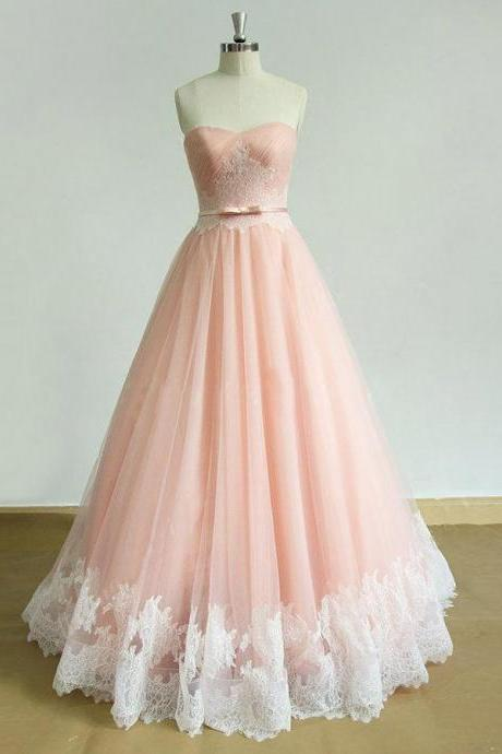Custom Made Pink Sweetheart Lace Sweep Train Ruched Prom Dress with Sash