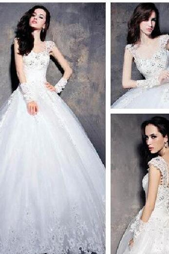 Beaded Embellished and Lace Appliques Sweetheart Cap Sleeves Floor Length Tulle Wedding Gown Featuring Chapel Train