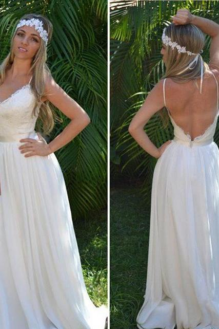 Lace Plunge V Spaghetti Straps Floor Length Chiffon A-Line Wedding Dress Featuring Open Back, Beach Wedding Dress