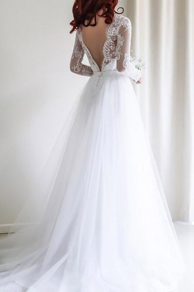 Lace Bateau Neck Long Mesh Sleeves Floor Length Satin Mermaid Wedding Dress Featuring Plunge V Back and Train