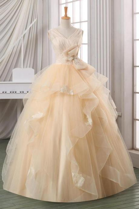 Ball gown backless wedding dress,pleated tulle V neck wedding dress,plus size wedding dress,cheap wedding dress,wedding gown,bridal dress
