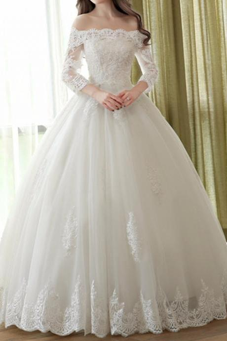 Ivory Lace Wedding Dress with Long Sleeves