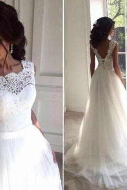 Sleeveless Sheer Lace Appliqués A-line Wedding Dress